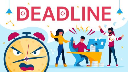 Deadline Overwork and Angry Yelling Coworker Team. Quarreled and Stressed Work Situation. Annoyed Executive Manager and Programmer. Alarm Clock with Evil Facial Expression. Vector Illustration