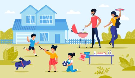 Happy Family and Kid Having BBQ at Home Backyard. Barbecue Party and Picnic Outdoor at Countryside. Holiday Fun. Mother, Father, Children and Recreational Activity Outside. Vector Illustration