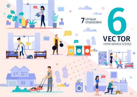 House Cleaning, Plumbing Service Employees Routine Trendy Flat Vector Scenes Set. Female, Male Workers Characters Throwing Out Waste, Moving Lawn, Repairing Pipe Leakage, Dusting at Home Illustrations