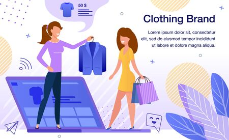 Women Clothing Brand Online Store or Shop Advertising Banner, Promo Poster Template. Lady Choosing and Purchasing Jacket in Internet, Blogger Recommending Product Trendy Flat Vector Illustration