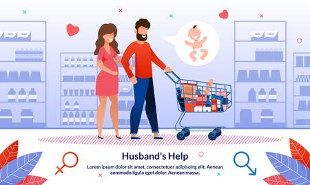 Husbands Support and Help in Housework During Pregnancy Trendy Flat Vector Banner, Poster. Man Going on Shopping, in Supermarket, Buying Goods in Grocery Store, Helping Pregnant Woman Illustration