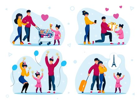 Family Celebrations and Recreation Trendy Flat Vector Concepts Set. Parents with Children Shopping in Supermarket, Having Fun on Party, Celebrating Birthday, Going on Vacation Journey Illustration