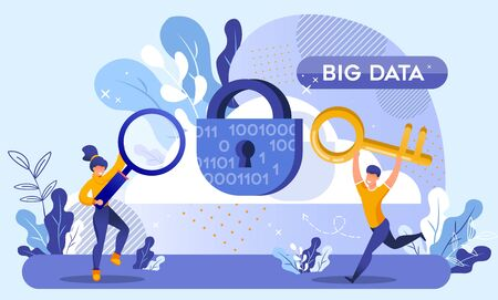 Big Data Protection and Cyber Security Technology. Huge Lock with Keyhole and Binary Code Design. Woman Holding Magnifying Glass, Man Carrying Key Run. Secure Service for Information Storage