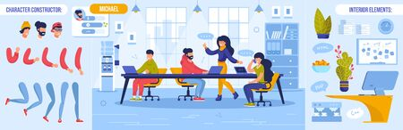Business Meeting, Briefing and Teamwork. Coworker Character Constructor with Body Parts Bundle and Interior Design Element. Worker Sitting at Table Brainstorming Working Together on Creative Project