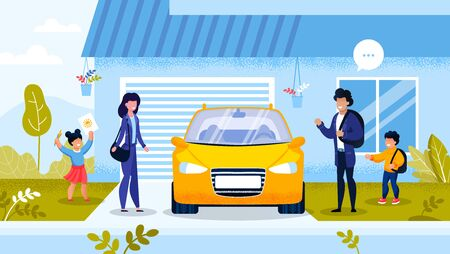 Happy Smiley Family Going to Work and Study by Car. Mother, Father, Son Standing near Automobile. Preschool Daughter Showing Picture. Communication and Relationship. Daily Routine Vector Illustration 向量圖像
