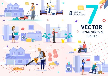 House Cleaning, Repair Service Employees Work Scenes Trendy Flat Vector Set. Female, Male Workers Characters Mowing Lawn, Vacuuming Carpet in Apartment, Removing Leaves, Repairing Pipes Illustrations