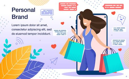 Personal Branding Marketing Strategy, Promoting Company, Product or Service with Personal Name Banner, Poster. Woman with Shopping Packets in Hands Using Smartphone Trendy Flat Vector Illustration Stockfoto - 146451551