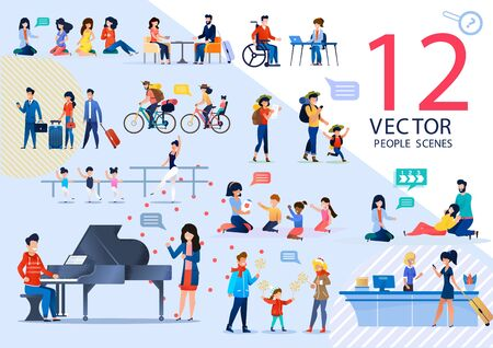 People Active Lifestyle and Relationships, Kids Education, Childbirth Prepare Trendy Flat Vector Scenes Set. Pregnant Women, Traveling Couple, Learning Children, Tourists Characters Illustrations Vettoriali