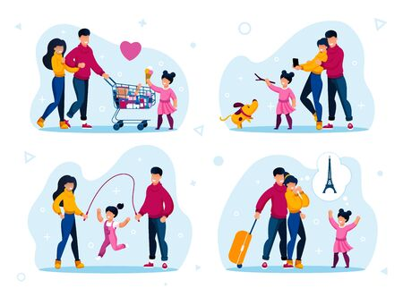 Happy Family Daily Life Situations, Recreational Activities Trendy Flat Vector Set. Parents with Child Shopping Together, Playing with Dog, Jumping on Rope, Making Photos, Planning Trip Illustration Vettoriali