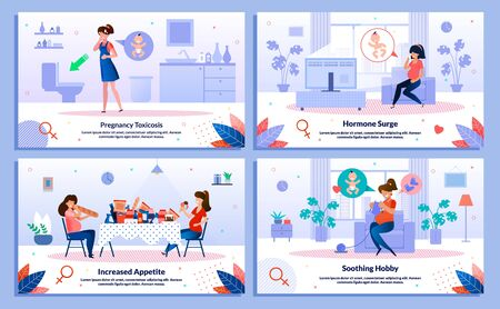 Pregnancy Toxicosis, Hormone Surge and Appetite, Hobby Trendy Flat Vector Banner, Poster Set. Lady Feeling Nausea, Feels Mood Changes and Sweating, Eating Unhealthy Food, Knitting at Home Illustration