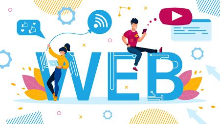 Web Design for Social Media, Video Application on Digital Device. Advertising Poster with Tiny People Laptop and Smartphone User Standing Sitting on Capital Letter. Wireless Tech Vector Illustration