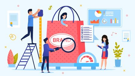 Personal Branding Technology. Brand Testing Process. Woman Customer in Shopping Bag on Weight Scale. Man with Ruler Measuring Size. Lady with Checkup List. Team Marketer. Metaphor Vector Illustration