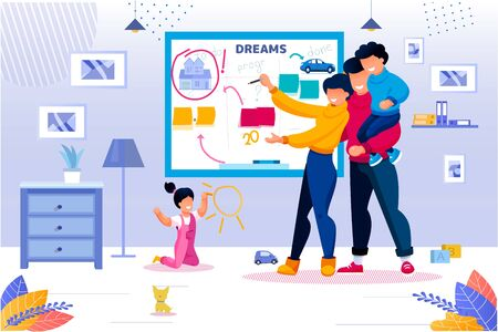 Happy Family and Life Goal Wish List Check up. Wife and Husband Noting Done or Not on Whiteboard. Parent and Kid in Living Room. Future Plan and Achievement. Program for New Home to Buy or Rent 일러스트