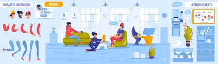 Coworking Open Workspace. Rest Time at Work Day. Worker Character Body Part Constructor Set. Office Interior Element Design. Colleague Talking, Drinking Coffee, Playing Table Game Vector Illustration Vettoriali