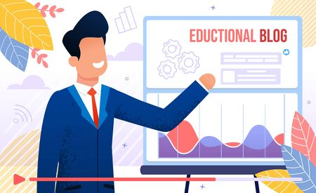 Educational Blog, Business Training or Courses, Financial Adviser Seminar, Business Career Planning Lecture Concept. Successful Businessman Teaching Online Audience Trendy Flat Vector Illustration Vettoriali
