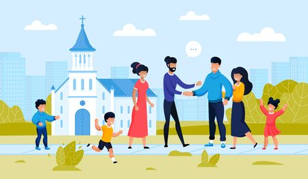 Two Family Friend Meeting at City Church Building. Parent with Children Outside. Religion Architecture Design. Friendship Support at Famous temple landmark. People Conversation. Vector Illustration 版權商用圖片 - 144840141