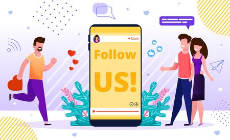 Internet Blog Online Advertisement SMM Banner. Influencer Marketing Strategy, Social Media Network Promotion. Follow us Sign on Mobile Screen. Followers and Positive Feedback Attraction. Joint Offer Illusztráció