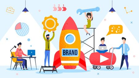 Brand Spaceship Rocket Launching. Successful Product Startup Process. People Marketer Team Using Branding Technology and Strategically Important Tool. Final Countdown. Metaphor Vector Illustration Ilustração