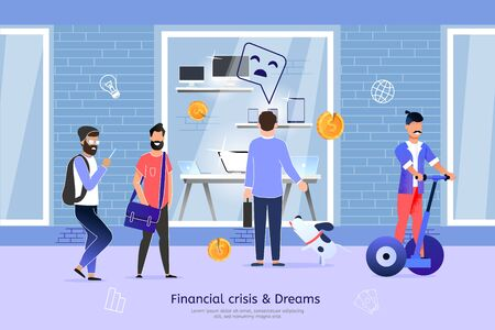 Financial Crisis and Shopping Dreams Fail, Low Salary and Income Trouble, Lack of Money for Gadget Trendy Flat Vector Banner, Poster Template. Sad Man Standing in Front of Store Showcase Illustration Vettoriali
