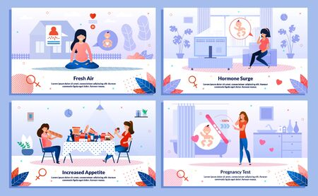 Pregnancy Test, Pregnant Woman Appetite, Hormone Surge, Outdoor Activity Trendy Flat Vector Banner, Poster Set. Lady Meditating, Feels Mood Changes, Eating Unhealthy Food, Looking on Test Illustration Vettoriali