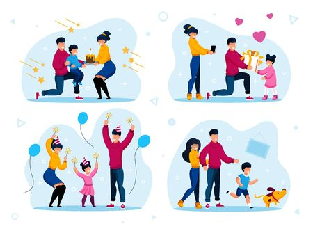 Family Holiday Celebration Traditions Trendy Flat Vector Concepts Set. Parents Greeting Child with Birthday, Having Fun on Holiday Party Celebration, Playing with Dog at Home Isolated Illustrations