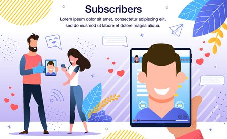 Popularity Among Internet Users, Authority in Social Networks, Famous Person or Celebrity Online Followers Banner, Poster. Blogger Subscribers Discussing Last News Trendy Flat Vector Illustration