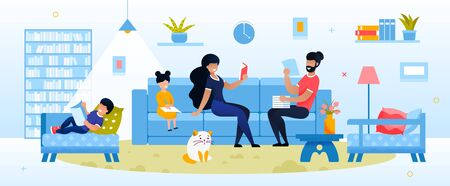 Happy Parent and Kid Engaged in Evening Activity at Home. Mother Father Reading, Daughter Son Doing Homework. Mom and Dad with Kid Rest in Living Room. Education and Development Vector Illustration