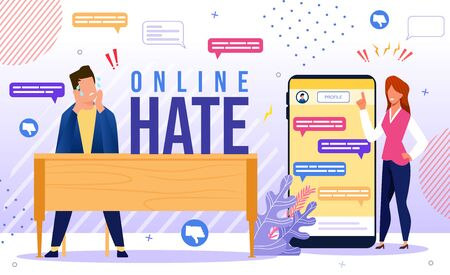 Online Hate, Discrimination, Bulling in Internet, Psychological Pressure, Blaming, Aggression in Social Network Concept. Man, Woman Characters Worried Because of Haters Trendy Flat Vector Illustration Vettoriali