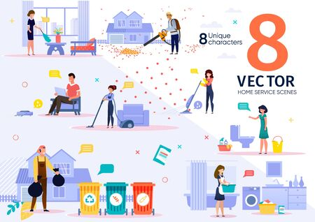 Home Cleaning Service Workers Activities and Routines Trendy Flat Vector Scenes Set. Female and Male Employees in Uniform Vacuuming Room, Washing Clothes, Sorting Waste, Moving Lawn Illustrations
