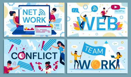 Net and Web Connection, Team Work, Conflict Set. People Communicating, Quarrelling, Exchanging Data and Coworking via Internet. Man and Woman Messaging, Texting via Digital Device. Vector Illustration