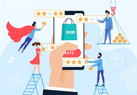 Brand Rating and Reputation Management Metaphor. Huge Human Hand Holding Phone with Trademark Logotype. Client, Viewer, User Giving Feedback. Customer Experience Optimization. Vector Illustration Vettoriali