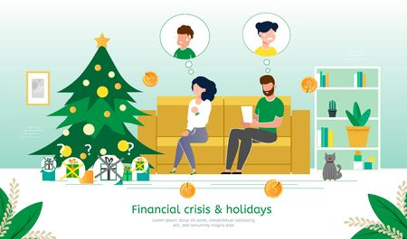 Winter Holidays Celebration in Financial Crisis, Family Budget Deficit Trendy Flat Vector Banner, Poster Template. Parents Worrying Because Lack of Money on Christmas Gifts for Children Illustration