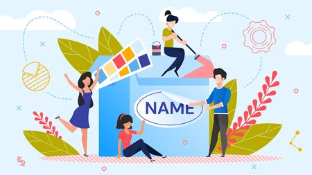Brand Name Creation. Team Workflow Process. Woman Designer Working on Design. Man Marketer Changing Product Logotype. Rebranding. Awareness and Recognition Increase. Metaphor Vector Illustration Vettoriali