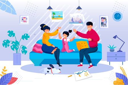 Smiling Parent Playing with Cheerful Daughter Kid Sitting Together on Couch in Living Room at Home. Happy Family Evening Recreation and Pastime. Togetherness Activity. Vector Illustration Vettoriali