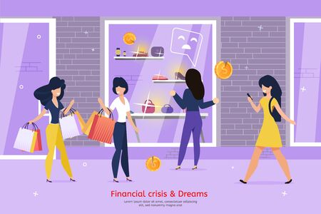 Financial Crisis and Consumer Dreams Fail, Low-Income and Lack of Money for Shopping Trendy Flat Vector Banner, Poster. Poor Woman Standing in Front of Shop Showcase with Expensive Goods Illustration
