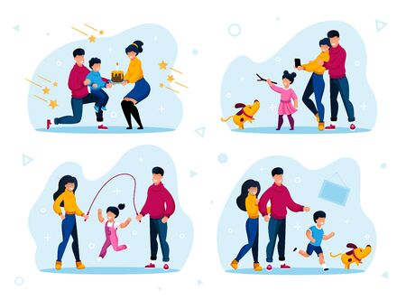 Family Relationships Happy Moments Trendy Flat Vector Concepts Set. Parents Celebrating Kids Birthday, Child Playing with Dog, Daughter Jumping on Rope with Father and Mother Isolated Illustrations