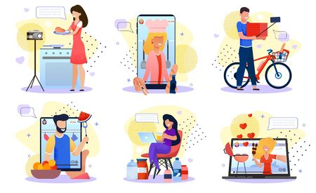 Culinary Video Bloggers, Live Steamers Characters Set. Men and Women Recording Video, Cooking at Home, Making Review of Nutrition Product, Food Supplement, Shopping Groceries Flat Vector Illustration