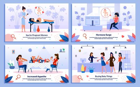 Pregnant Woman Healthy Lifestyle, Shopping for Baby, Hormone Surge, Appetite Trendy Flat Vector Banner, Poster Set. Lady Relaxing in Spa, Feels Mood Changes, Buying Clothing in Store Illustration Vettoriali