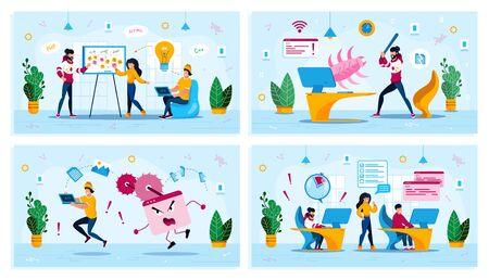Ideas Brainstorming, Malware Software, Project Time Management Trendy Flat Vector Concepts Set. Employees Planning Project, User Fighting with Virus or Bug, Web Developers Fails Deadline Illustration