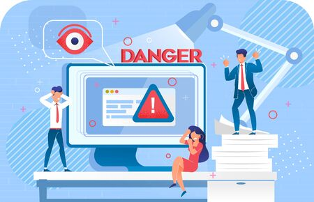 Security System Cyber Attack Hacking Danger Warning Signal. Scam Alert on Monitor. Data Protection Failure. Upset Office Worker Business People near Huge Computer under Lamp. Digital Protecting Eye Stockfoto - 145144336
