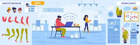Coworking Space with Freelancer at Work. Man Woman Office Worker Character Constructor Set. Personal Info, Body Part Bundle, Interior Element Workplace Room Design Creation Kit. Vector illustration