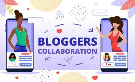 Popular Bloggers Collaboration, Creating Trendy Content for Internet, Social Media Audience Concept. Women Bloggers, Vloggers, Live Video Streamers Communicating Online Flat Vector Illustration Vettoriali