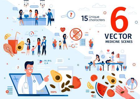 Family Healthy Nutrition and Dieting Recommendations Trendy Flat Vector Scenes Set. Women Resting Spa Salon, Relaxing on Massage, Doctor Counseling People About Vitamins and Natural Food Illustrations