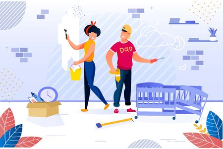 Happy Family Repairing Home. Newlyweds and House Renovation. Woman Painting Wall in Room. Man Constructing Baby Bed. New Apartment Repair after Moving. Childbirth Preparation. Vector Illustration Vettoriali