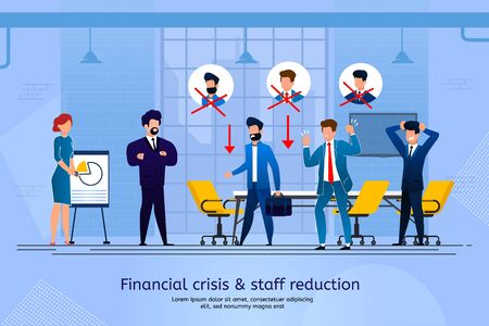 Financial Crisis and Staff Reduction Trendy Flat Vector Banner, Poster Template. Business Leader, Boss Telling Company Employees About Layoff. Office Workers in Panic Because of Job Lose Illustration Vettoriali