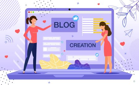 Blog Creation, Starting Personal Lifestyle Vlog, Live Video Streaming Channel Launch Concept. Women Creating Webpage, Pasting Banner at Site, Planning Landing Page View Trendy Flat Vector Illustration 版權商用圖片 - 145549505