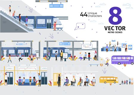 City Public Transport, Subway Passengers Transportation Trendy Flat Vector Scenes Set. Metro Passengers, People Waiting Train on Metropolitan Underground Station, Citizens Going with Bus Illustrations