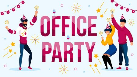 Office Party Celebration with Colleague Invitation Poster. Happy Coworker wearing Cute Festive Hat with Sparklers Having Fun, Dancing. New Year, Xmas or Birthday Celebration Vector Illustration