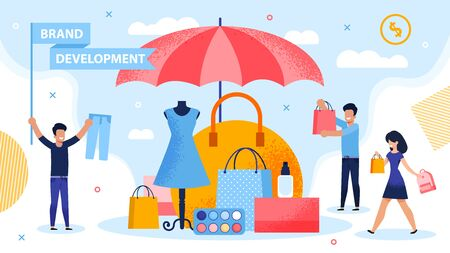 Brand Development and Piracy Protection Metaphor. People Carrying Shopping Bag and Putting Product under Parasol. Marketer Holding Flag with Promoting Lettering. Fashion Woman Goods Security Vettoriali