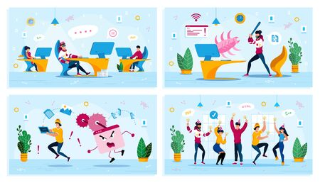 Employees Motivation, Internet Threat, Corporate Party Trendy Flat Vector Concepts Set. Procrastinating Programmer, User Fighting with Bug, Rescuing Computer from Virus, Dancing Coworkers Illustration